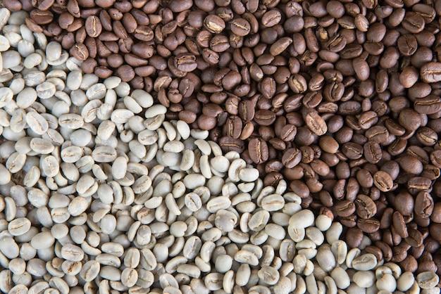 De achtergrond van koffiebonen groep groen en geroosterd arabicakoffiebonenconcept koffiestaat en landbouw