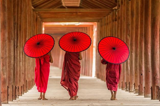 De achterkant van drie boeddhistische beginner loopt in pagode, myanmar