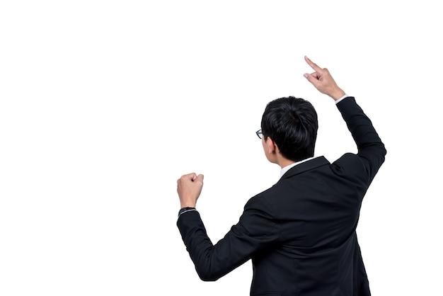 De achterkant van zakenlieden toon een goede houding het bedrijf is succesvol op witte geïsoleerde achtergrondgeluid