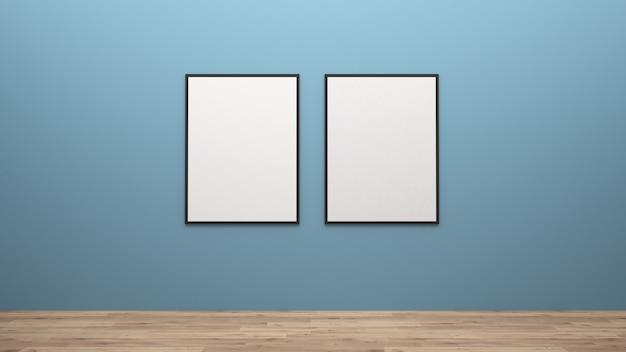 De affichemodel van de vertoning op muur het 3d teruggeven