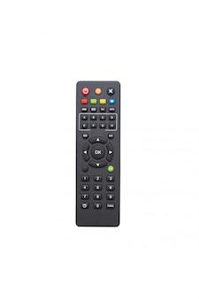 De afstandsbediening van tv die op wit wordt geïsoleerd