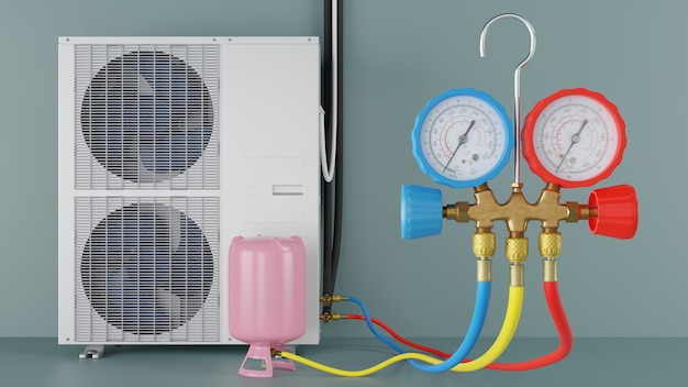 De airconditioner bijtanken met freon 3d-rendering