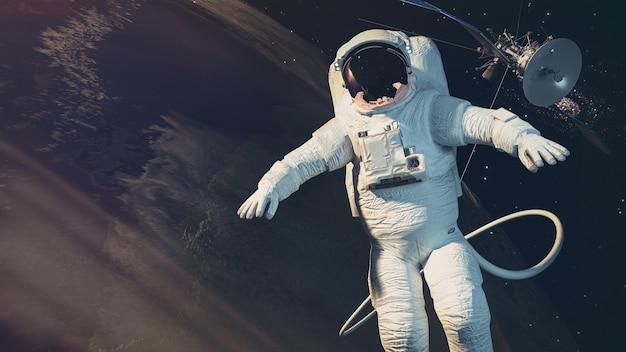 De astronauten, aarde, satelliet. 3d-rendering andl illustratie.