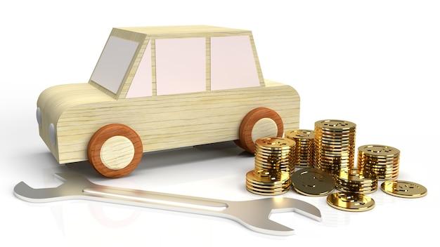 De auto houten speelgoed en moersleutel gouden munten op witte achtergrond 3d-rendering.