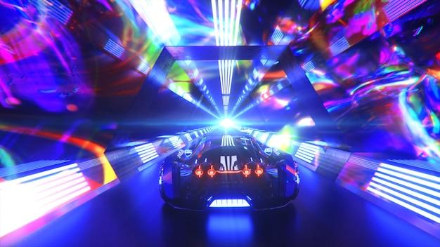 De auto raast met hoge snelheid door een futuristisch concept van een eindeloze neontechnologietunnel