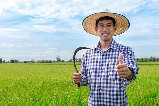 De aziatische jonge duim van de landbouwers gelukkige hand omhoog en holding sikkel in een groen padieveld en een blauwe hemel