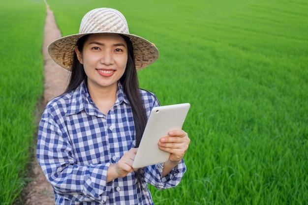 De aziatische jonge tribune van het de glimlachgezicht van de landbouwersvrouw en het gebruiken van tablet mobiel bij groen rijstlandbouwbedrijf