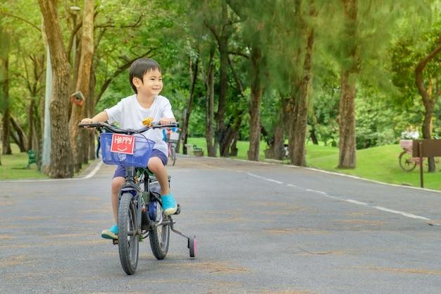 De aziatische leuke jongen berijdt een fiets bij achtergrond van de park de groene aard
