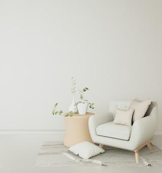 De banken en stoelen in de witte kamer zijn ruim en hebben tropische decoraties .. 3d rendering