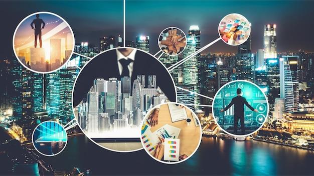 De bannerfoto van het bedrijfsnetwerk die in concept van beheer en groei wordt geplaatst