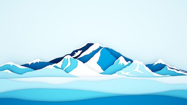 De bergachtergrond van het ijs voor kunstwerk
