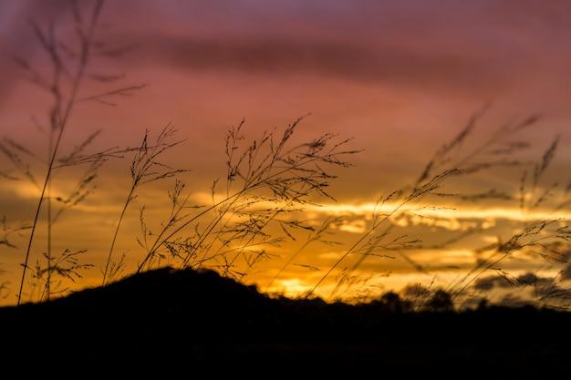 De bergvorm van het silhouet in zonsondergangtijd.