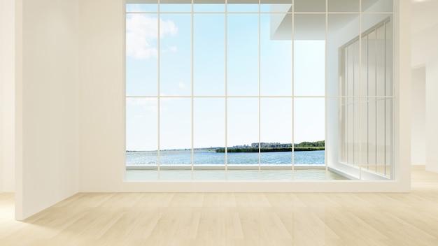 De binnenlandse lege muurachtergrond in flat - het 3d teruggeven