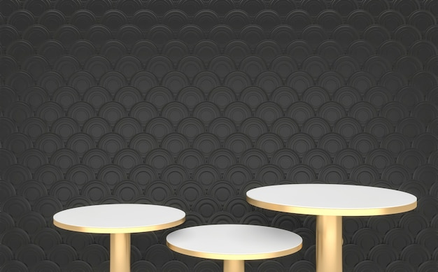 De black and golden podium minimale geometrische, donkere stijl abstract.3d rendering
