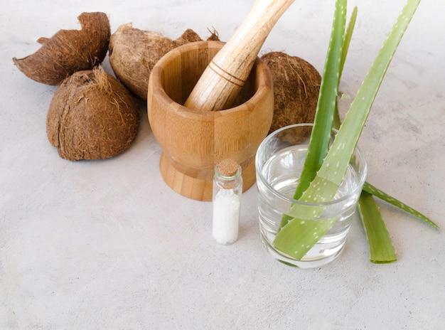 De bladeren van aloëvera in een glas en een kokosnoot hoge mening