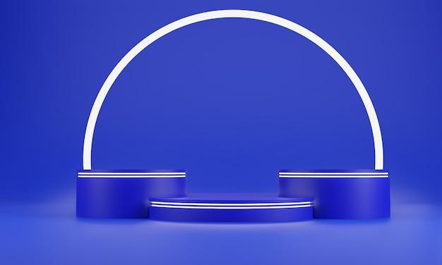 De blauwe abstracte achtergrond van de meetkundevorm. blauw podium en witte glow bar mockup-scène voor cosmetica of een ander product, 3d-rendering