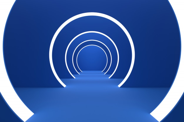 De blauwe achtergrond van de cirkelruimte met 3d gloedlicht geeft terug