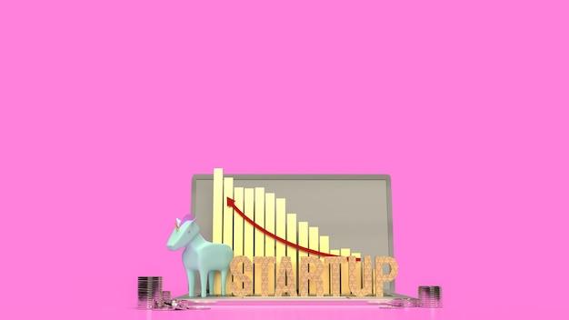De blauwe eenhoorn en de grafiekpijl omhoog voor het 3d teruggeven van het symbool opstarten bedrijf