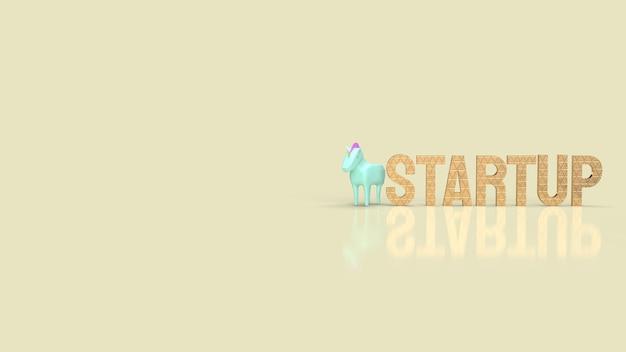 De blauwe eenhoorn en het gouden woord voor het 3d teruggeven van zaken van het symbool opstarten