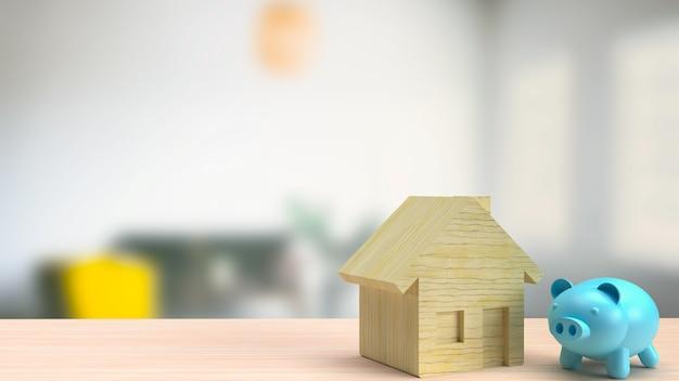De blauwe spaarvarken en houten huis voor onroerend goed of huis besparingen concept 3d-rendering