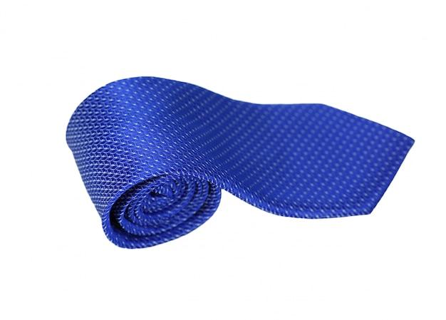 De blauwe stropdas isoleert op wit