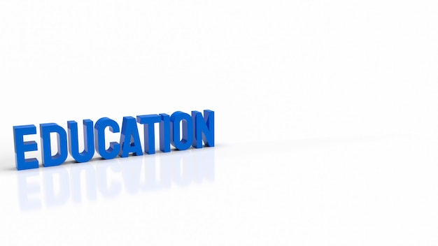 De blauwe tekst op een witte achtergrond voor het 3d-rendering van het onderwijsconcept