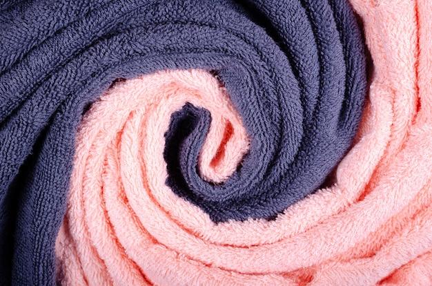 De blauwe textuur van de handdoekstof, hoogste meningsfoto.