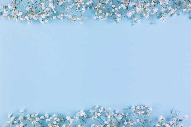 De bloemgrens van de witte babyadem op blauwe achtergrond met exemplaarruimte voor het schrijven van de tekst