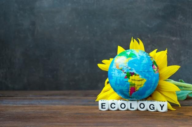 De bol van de aardebol tegen gele zonnebloem en de woordecologie