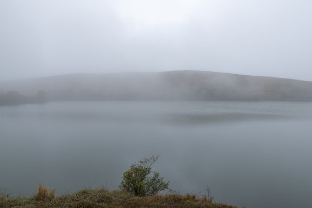 De bomen en graslanden bij het meer waren wazig in de mist
