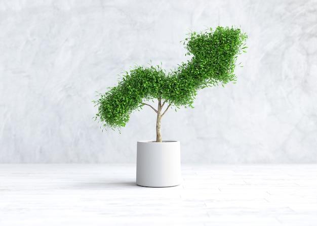 De boom groeit in de vorm van een grafiek