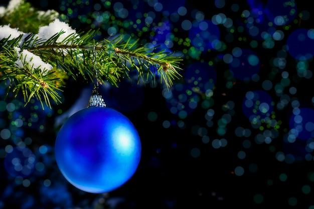 De bostak van de kerstboom met blauw ornament
