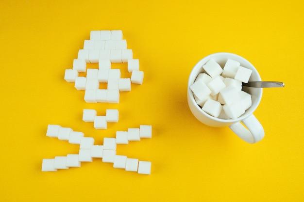 De bottenschedel gemaakt van suikerklontjes en een witte kop vol suiker met een lepel op een gele achtergrond. suiker doodt en diabetes concept.