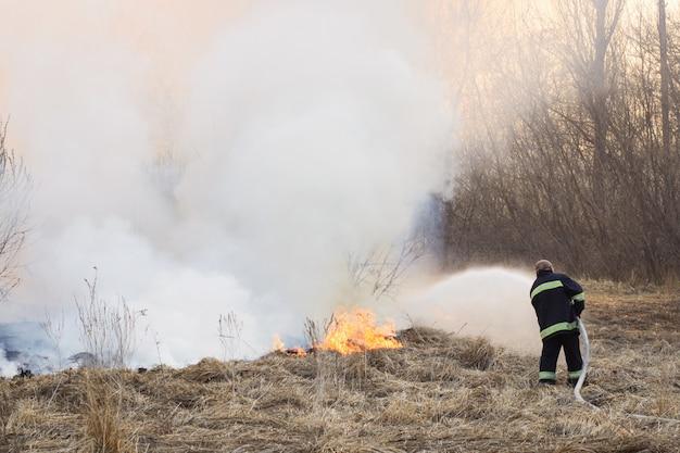 De brandbestrijder bestrijdt een wildvuur op gebied dichtbij bos