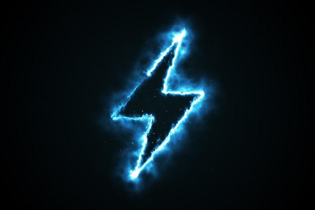 De brandende blauwe vorm van de vlambliksem op zwarte achtergrond, 3d illustratie