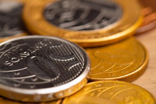 De braziliaanse munten in macrofotografie