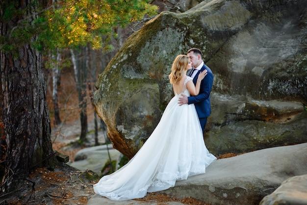 De bruid en bruidegom knuffelen in de berg