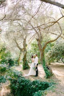 De bruid en bruidegom knuffelen tussen pittoreske bomen bedekt met klimop in het park