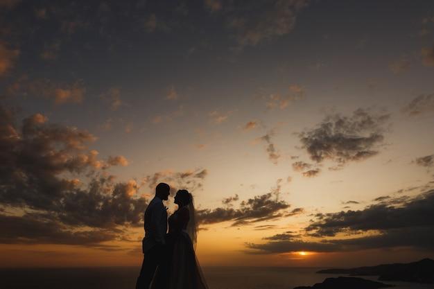 De bruid en bruidegom omhelzen op het strand bij de zee bij zonsondergangsilhouetten