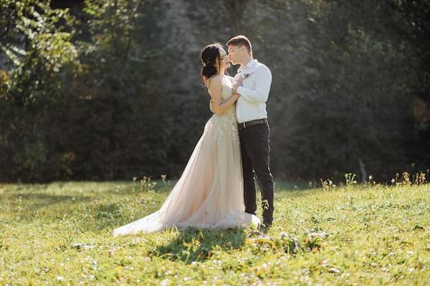 De bruid en bruidegom op de zonnige glade.