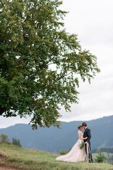 De bruid en bruidegom vieren hun huwelijk in de bergen. huwelijksfotografie. huwelijksceremonie voor twee.