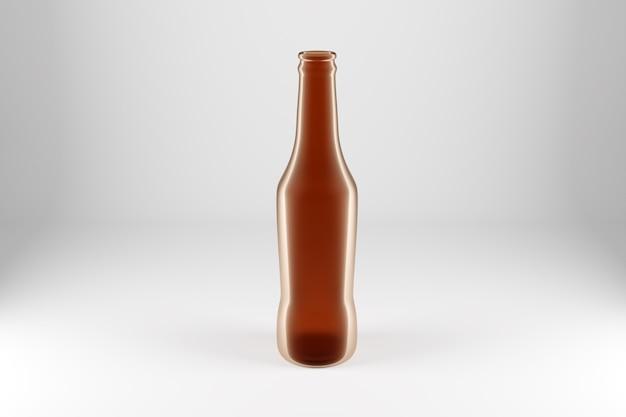 De bruine fles van het glasbier op wit geïsoleerde achtergrond