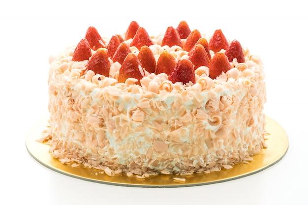 De cakedessert van de vanille met aardbei op bovenkant