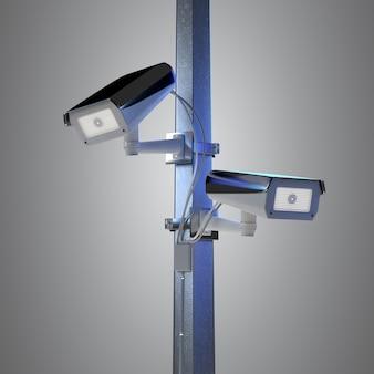 De camera van kabeltelevisie van de straatveiligheid op een achtergrond wordt geïsoleerd - het 3d teruggeven die