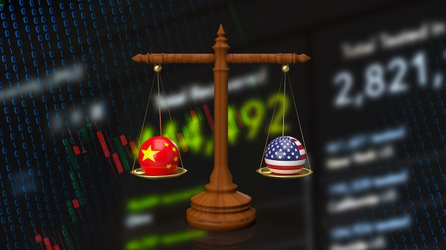 De china en amerika bom op weegschaal voor bedrijfsconcept 3d-rendering