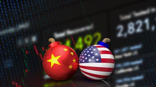 De china en amerika bom voor bedrijfsconcept 3d-rendering