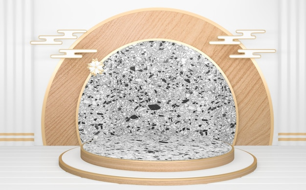 De cirkel witte houten podium minimale geometrische abstract.3d-rendering