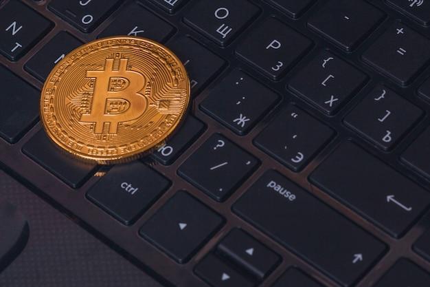 De close-up van bitcoin btc van muntstukcryptocurrency
