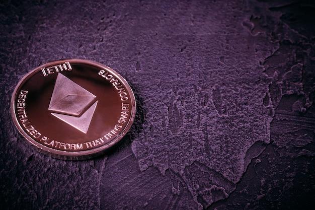 De close-up van cryptocurrency ethereum