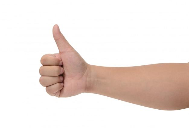 De close-up van mannelijke hand die duimen toont ondertekent omhoog